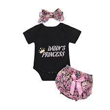 feee4c800595 Catpapa 3PCS Newborn Baby Girl Romper Jumpsuit Bodysuit +Pants  Shorts+Headband Outfit Set