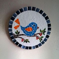 Cute tiny bird mosaic on a branch. Paper Mosaic, Mosaic Tile Art, Mosaic Pots, Mosaic Artwork, Mosaic Tray, Stone Mosaic, Mosaic Glass, Mosaic Animals, Mosaic Birds
