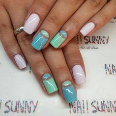 Beautiful nails 2016, Exquisite nails, Gentle half moon nails, Half moon nails…