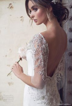 anna campbell 2019 bridal butterfly sleeves diamond neck simple embellished waist minimalist elegant fit and flare wedding dress backless scoop back chapel train (9) zbv -- Anna Campbell 2019 Wedding Dresses | Wedding Inspirasi #wedding #weddings #bridal #weddingdress #bride ~