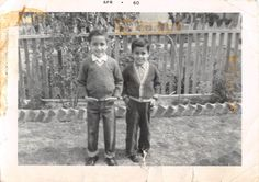 Photograph Snapshot Vintage Black and White 2 Boys Smile Cute Yard 1960'S | eBay