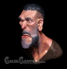 Model of a simple pirate. Sculpting and painting in Zbrush. Character Modeling, 3d Character, Character Design, Character Reference, 3d Modeling, Head Shapes, Zbrush, Caricature, Cartoon Characters