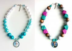 Frozen-inspired bottle cap necklaces, with FREE printable bottle cap images