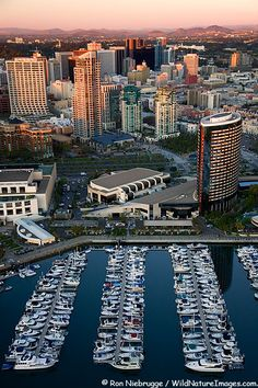 Aerial view of Embarcadero Marina Park and downtown San Diego, California