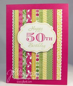 good scrap use; stripes adhered to solid white piece; solid white piece with scallop punched edges (this card also uses ribbon) Birthday Thank You Cards, Birthday Wishes, Strip Cards, Birthday Numbers, Milestone Birthdays, Creative Cards, Anniversary Cards, Homemade Cards, Stampin Up Cards