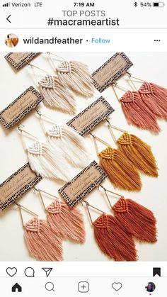 Macrame Design, Macrame Art, Macrame Projects, Macrame Knots, Diy Macrame Earrings, Macrame Jewelry, Diy Earrings, Macrame Patterns, Crochet Patterns