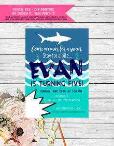 shark birthday pool party invitation pinterest birthday pool