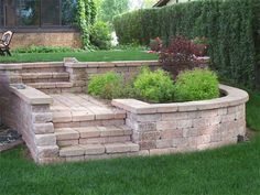 Brick steps - love it! If i have to terrace, this would be amazing up to a small patio-stone plateau with a small table and chairs Stone Landscaping, Landscaping Retaining Walls, Hillside Landscaping, Outdoor Landscaping, Front Yard Landscaping, Backyard Patio, Retaining Wall Steps, Brick Steps, Backyard Renovations