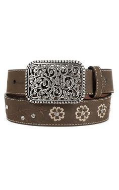Ariat Children's Brown Flower Embroidered Leather Belt | Cavender's
