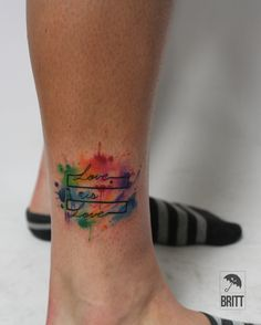 watercolor, watercolor tattoo, watercolors, watercolor tattoos, color, colorful, color tattoo, color tattoos, pride, pride tattoo, pride tattoos, gay pride, lgbtq, text, text tattoo, text tattoos Tatau Tattoo, Gay Tattoo, Text Tattoo, Gay Pride Tattoos, Equality Tattoos, Cute Foot Tattoos, Body Art Tattoos, Small Tattoos, Splatter Tattoo