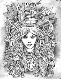 Boogschutter --> If you're in the market for the best adult coloring books… Colouring Pages, Adult Coloring Pages, Coloring Books, Doodle Art Drawing, Art Drawings, Archer Tattoo, Virgo Constellation Tattoo, Sagittarius Women, Tatoo Art