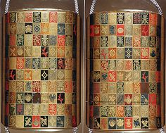 """Case (Inrô) with design of checkerboard with """"Seven Lucky Treasures"""" and """"Longevity"""" Characters  Period: Edo period (1615–1868)"""