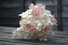 Made to order - Bridal bouquet MARIA - with vintage flower beads and french beaded flowers. $435.00, via Etsy.