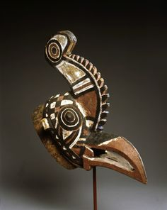 Africa | 'Rooster-Cameleon' Mask from the Nuna people of Burkina Faso | Wood and…