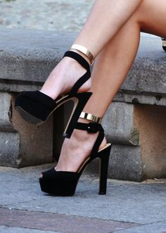 Gold anklets high heel shoes