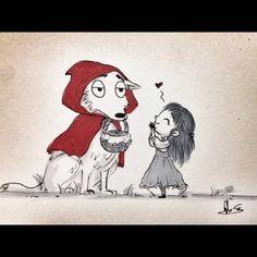 Why Red, what cuddly fur you have! #bigbadwolf #redridinghood #dailydrawing #angelasongart