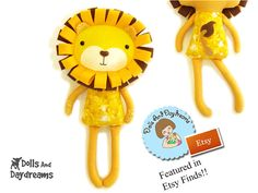* Dolls And Daydreams - Doll And Softie PDF Sewing Patterns: My Lion Sewing Pattern was Featured in Etsy Finds Today!!!!!