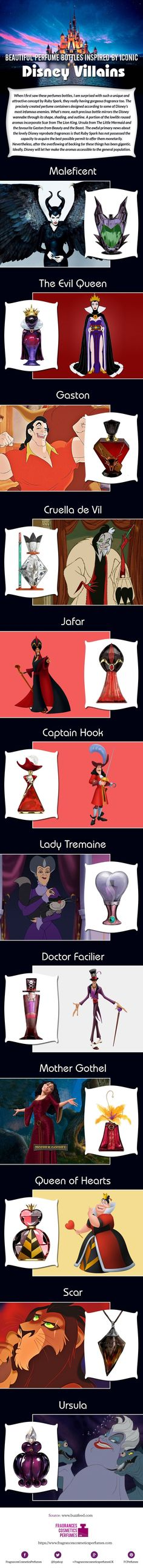 Beautiful Perfume Bottles Inspired by Iconic Disney Villains #Infographic…