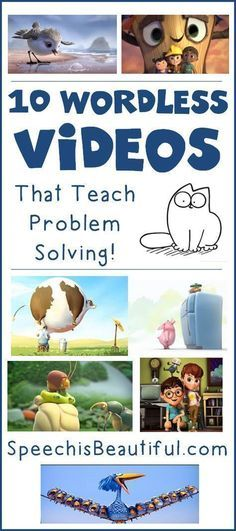 10 Wordless Videos that Teach Problem Solving -- Speech paths are seemingly always on the hunt for materials to address problem solving - did you ever consider videos? I found 10 wordless videos that are fun and make kids think about how to fix the main c