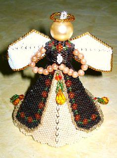 beaded Majestic Angel.  A design by Paula Adams.