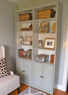DIY...Inspired by Ballard Designs Casa Florentina Josephina Bookcase! Craigslist bargain painted with Benjamin Moore Fieldstone...total cost $100!