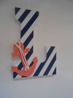 Nautical Letter - Nautical Nursery - Wooden Letters - Coral And Navy Decor - Wedding Decor - Nautical Baby - Lakehouse Decor - Beach Decor