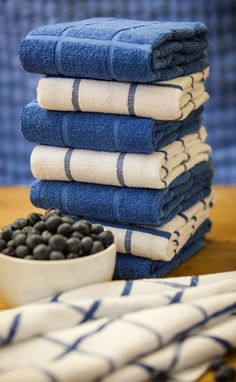 Kitchen towels are a must, so make sure they add that special touch. #AnnasLinens #Blue #Kitchen