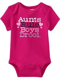 Graphic Cap-Sleeve Bodysuits for Baby- i gotta get it for Kendall!