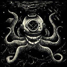 Octopus with Diving Helmet