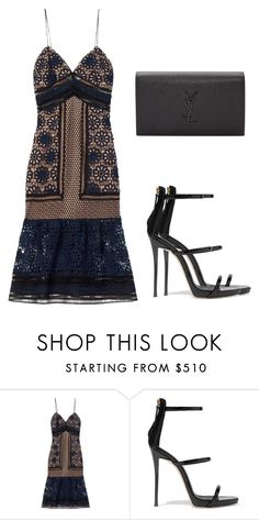 Sem título #2833 by beatrizvilar on Polyvore featuring moda, self-portrait, Giuseppe Zanotti and Yves Saint Laurent
