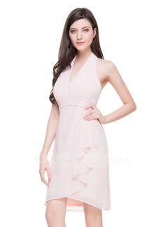 Sheath/Column Halter Knee-Length Chiffon Cocktail Dress With Cascading Ruffles   $73.00