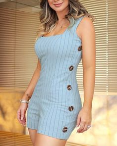 Striped Thin Strap Buttoned Side Romper Classy Outfits, New Outfits, Beautiful Outfits, Trendy Outfits, Cute Outfits, Cute Prom Dresses, Modest Dresses, Frock Fashion, Fashion Dresses