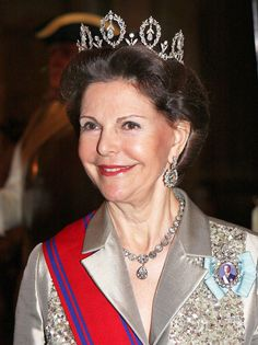 Connaught Tiara: Queen Silvia wore this tiara for the dinner during the Romanian State Visit in March 2008