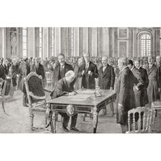 Mr Lloyd George Signs The Peace Treaty With Germany June 28Th 1919 In The Hall Of Mirrors Palace Of Versailles France David Lloyd George 1St Earl Lloyd-George Of Dwyfor 1863 Canvas Art - Ken Welsh De