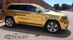 2014 #Jeep Grand Cherokee #SRT8 Wrapped in Gold Chrome