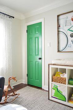 {green door} baby boy's nursery via S S @ Young House Love Interior Door Colors, Interior Doors, Interior Paint, Interior Ideas, Casa Kids, Painted Closet, Backyard Storage Sheds, Young House Love, Painted Front Doors