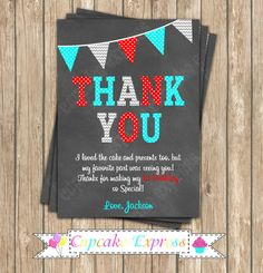Dr. seuss Thank You Card Invitation Little Man Blue Aqua Teal Red  Birthday  by CupcakeExpress on Etsy thing one thing 2