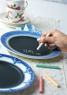 Make Chalkboard Plates with Rust-Oleum.   Gloucestershire Resource Centre http://www.grcltd.org/home-resource-centre/
