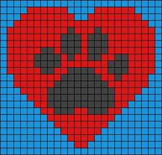 Heart and dog / cat paw print design bead loom or square stitch pattern. Beaded jewellery making Alpha Patterns, Loom Patterns, Beading Patterns, Embroidery Patterns, Knitting Charts, Knitting Patterns, Crochet Patterns, Pixel Crochet, Crochet Chart