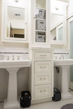 How To Get Two Sinks And Storage In A Small Bathroom For