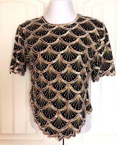 b0a832985c4ad Holiday Blouse Gold Black Beaded Sequin Pearl Top Laurence Kazar XL RUNS  SMALL  LaurenceKazar