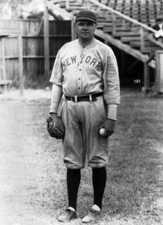 Babe Ruth (March 1920)  Baseball originally appeared in the late 18th century England. Pictured here is Babe Ruth. He joined the New York Yankees in the twenties and played for them. This symbolizes the beginning of sports players becoming stars. Beforehand, the teams were congratulated instead of the individual player. His rise to fame came from his hits while he was with the Boston Red Sox the decade previous.