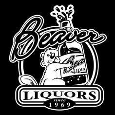 BEAVER LIQUORS T-Shirt  Funny geek nerd cool retro tshirt