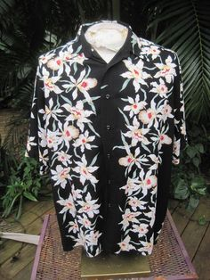 HAWAIIAN Aloha SHIRT L pit to pit 26 PURITAN rayon tropical floral orchids #SeeDescription #Hawaiian