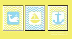 Nursery Wall Decor - Yellow and Blue -  Children's Room - Boy - Girl - Chevron - Sailboat, Boat, Whale, Anchor - Three 8x10 Art Prints. $45.00, via Etsy.
