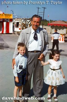 "Walt with guests at Disneyland's short lived ""Mickey Mouse Club Circus."""