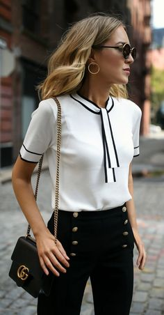 Sailor Vibes // White tie neck knit top with black piping, navy sailor inspired button front pants, black ankle strap block heel sandals + classic leather crossbody bag {Gucci, St. John, Tahari, Steve Madden; statement pants, creative office style, workwear, wear to work, office style, classy dressing, fashion blogger}