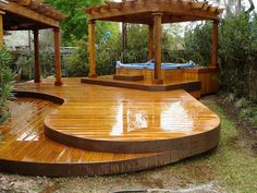 Landscaping And Outdoor Building , Outside Wood Deck Ideas : Curved Wood Deck Ideas With Hot Tub And Pergolas