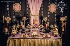 Black Gold Pink Theme Great Gatsby Candy Bar / Gatsby Candy buffet /  Coltul Dulce / Dessert Table / Sweet Corner / Wedding cupcakes www.coltuldulce.ro