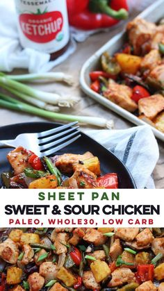 Easy & healthy sheet pan sweet and sour chicken is perfect for a busy week night or Paleo meal prep! Easy & healthy sheet pan sweet and sour chicken is perfect for a busy week night or Paleo meal prep! Paleo Meal Prep, Paleo Dinner, Paleo Food, Paleo Vegan, Whole30 Plan, Paleo Whole 30, Whole 30 Recipes, Paleo Recipes Easy, Real Food Recipes